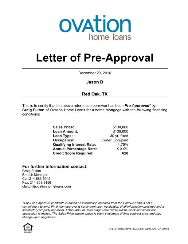 Pre Approval Letter Sample 25 Of Template Letter Approval