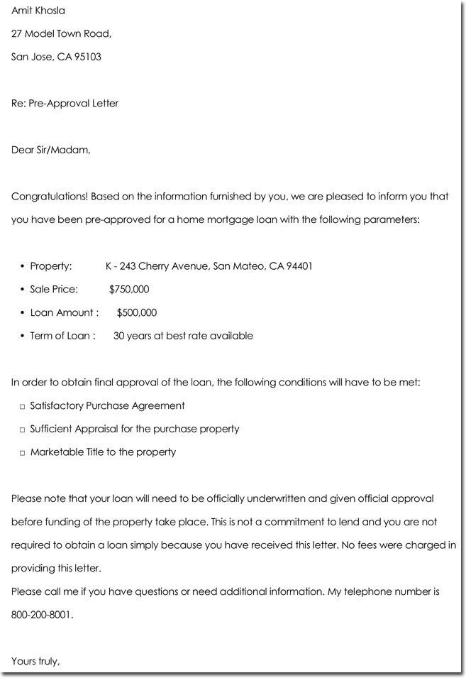 Pre Approval Letter Sample Approval Letter Templates 10 Samples Examples & formats