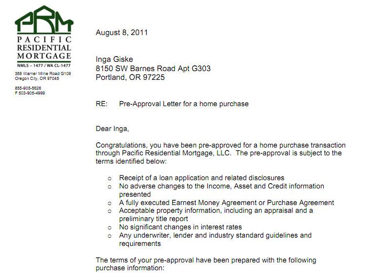 Pre Approval Letter Sample Pre Approval Inga