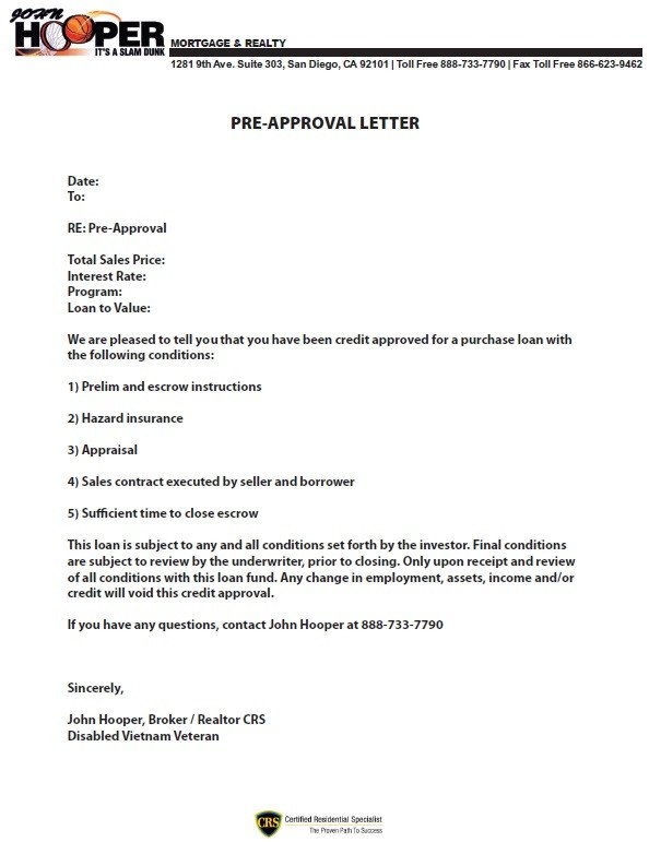 Pre Approval Letter Sample Preapproval Letter