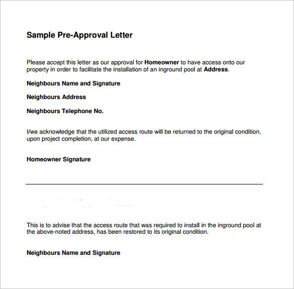 Pre Approval Letter Sample Sample Pre Approval Letter 8 Download Free Documents In