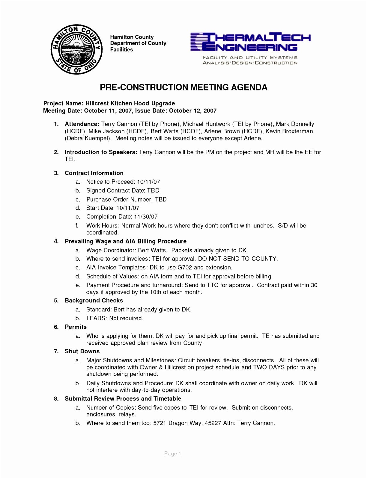 Pre Construction Meeting Agenda Template 5 Pre Construction Meeting Agenda Template Eiyye