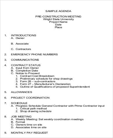 Pre Construction Meeting Agenda Template 6 Team Meeting Agenda Sample Free Sample Example