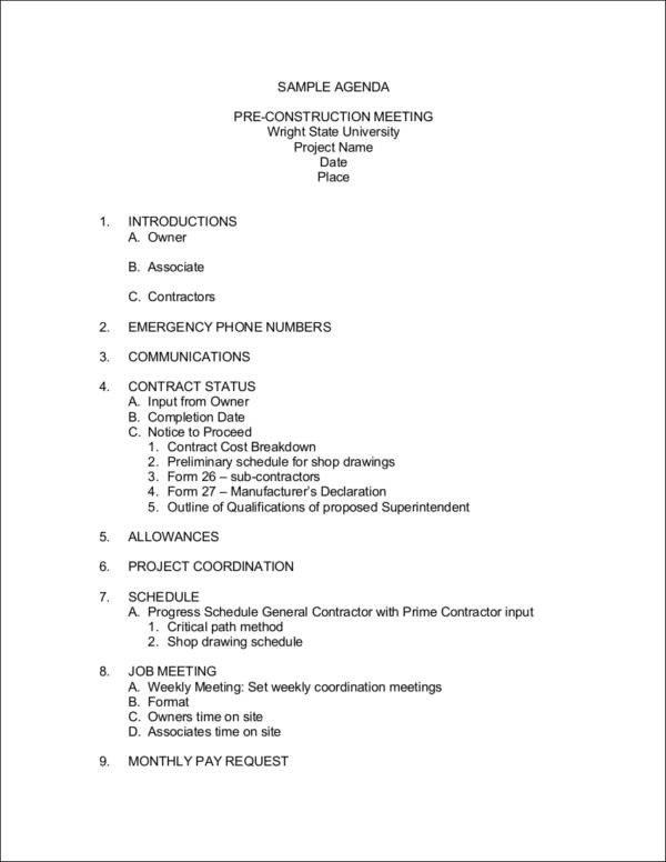Pre Construction Meeting Agenda Template Business Agendas for Small and Medium Enterprises 10