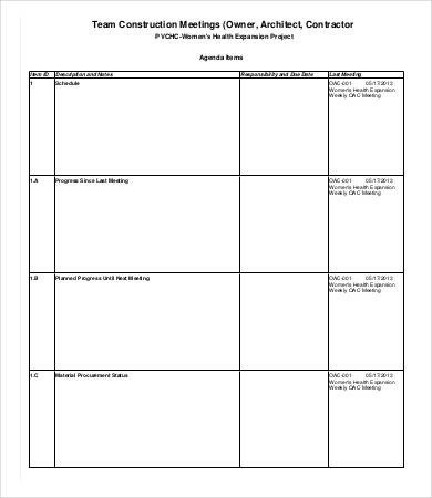 Pre Construction Meeting Agenda Template Construction Meeting Agenda Template 6 Free Word Pdf