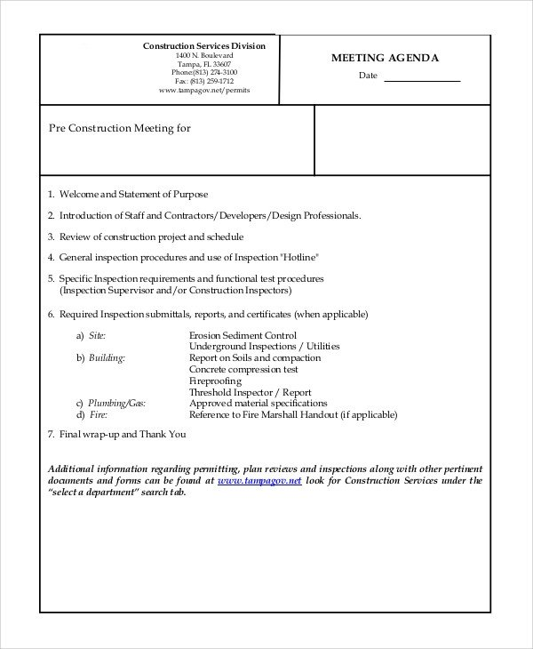 Pre Construction Meeting Agenda Template Sample Meeting Agenda 10 Examples In Pdf Word
