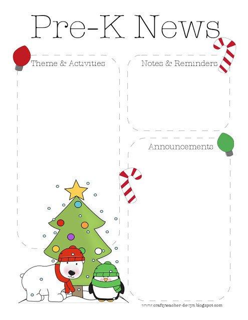 Pre K Newsletter Template Christmas Pre K Newsletter Template