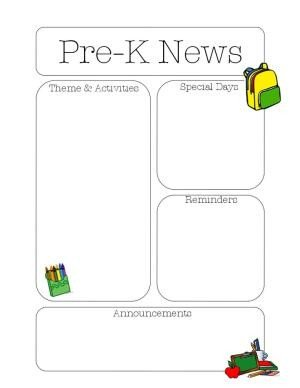 Pre K Newsletter Template Editable Class Newsletter Template