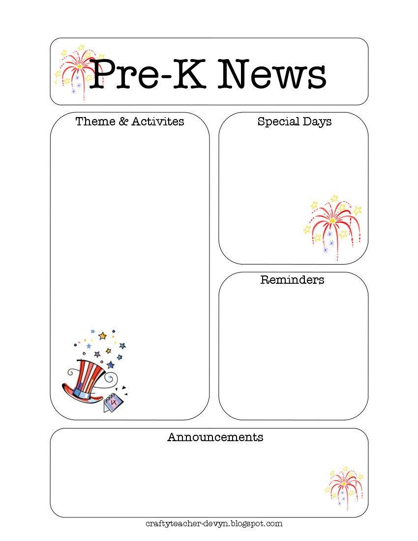 Pre K Newsletter Template July Pre K Newsletter Template