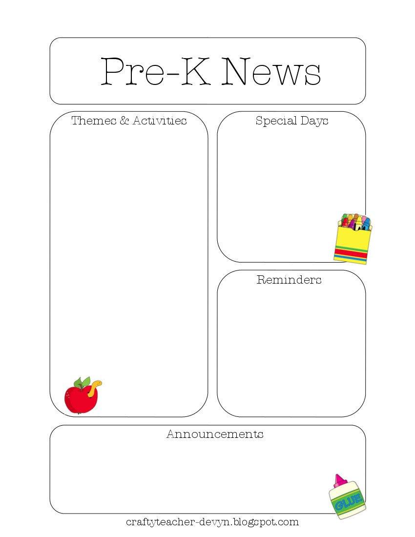 Pre K Newsletter Template Newsletter Templates