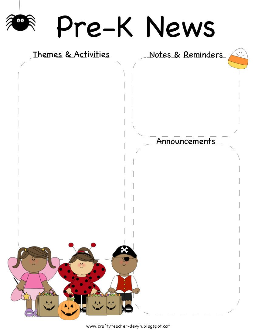 Pre K Newsletter Template October Halloween Pre K Newsletter Template