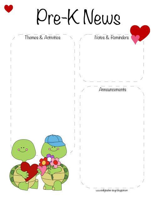 Pre K Newsletter Template Pre K Valentine S Day February Newsletter Template