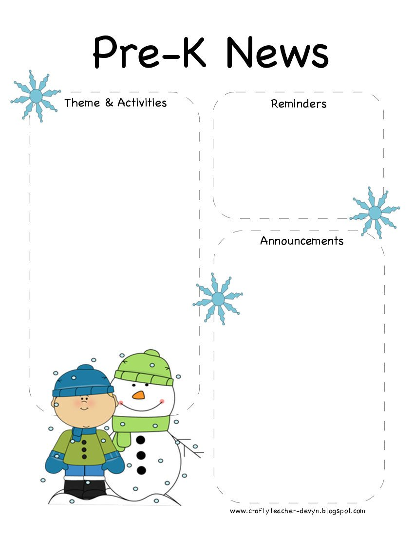 Pre K Newsletter Template Pre K Winter Newsletter Template