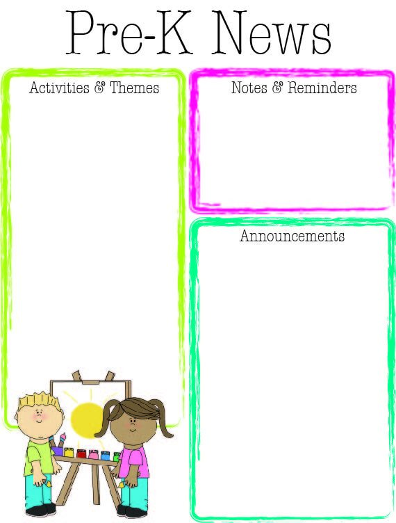 Pre K Newsletter Template Prek Bright Colors Newsletter