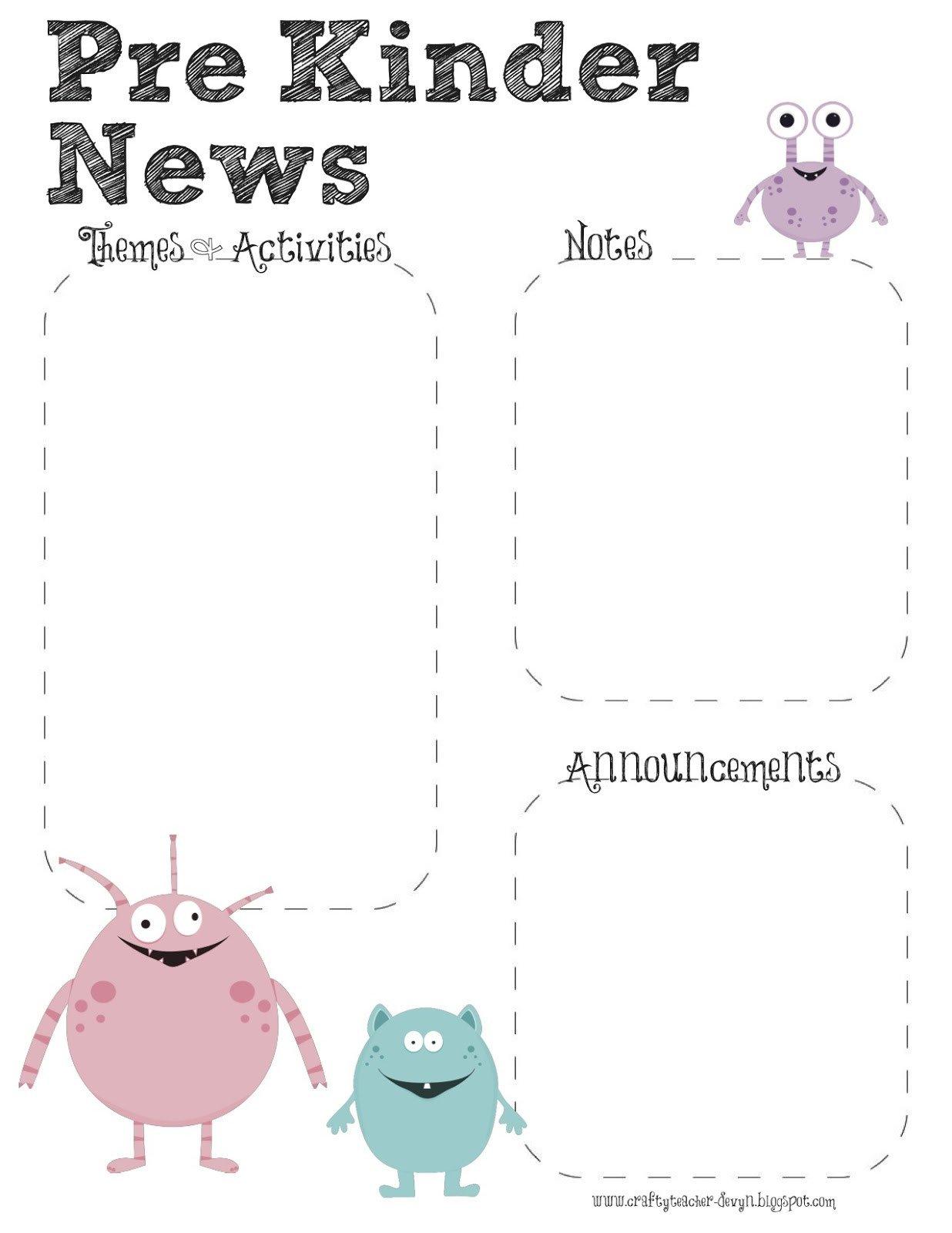 Pre K Newsletter Template Prek Monster theme Newsletter Template