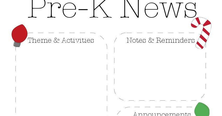 Pre K Newsletter Template the Crafty Teacher Christmas Pre K Newsletter Template