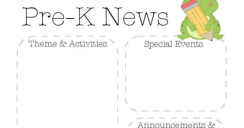 Pre K Newsletter Templates Frog Pre K Newsletter Template