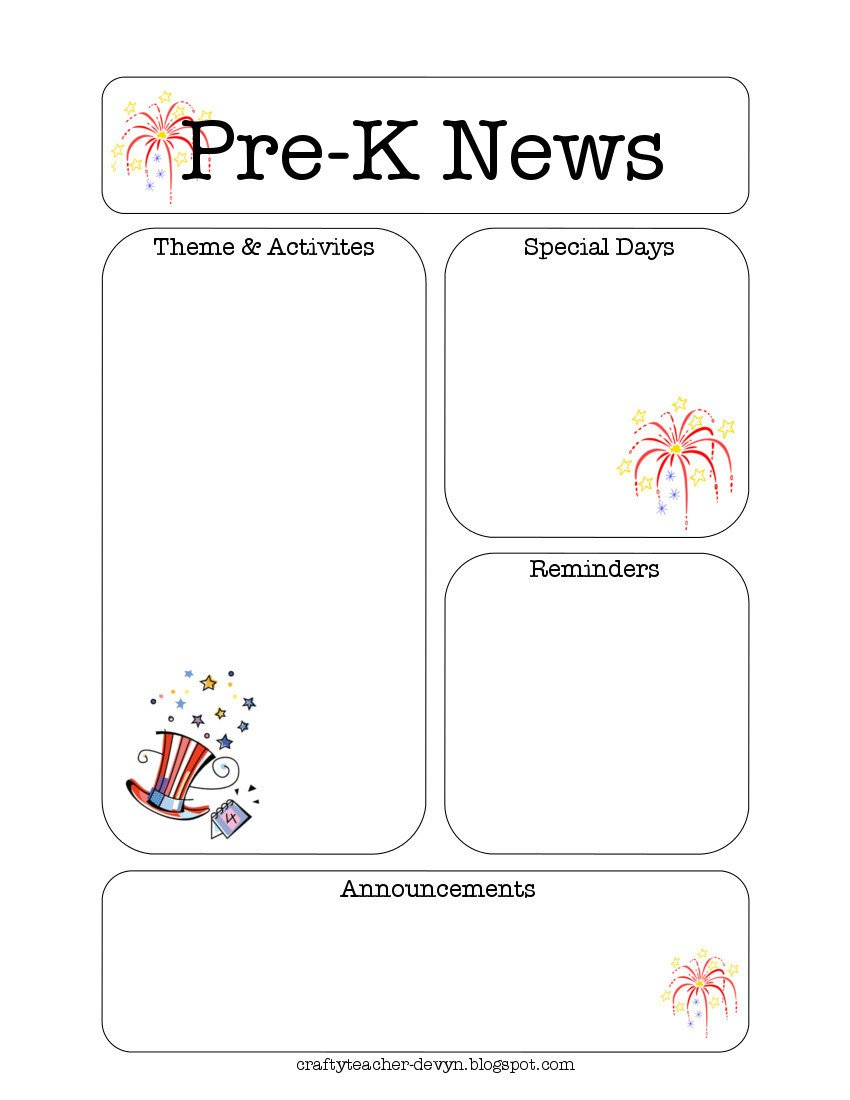 Pre K Newsletter Templates July Pre K Newsletter Template