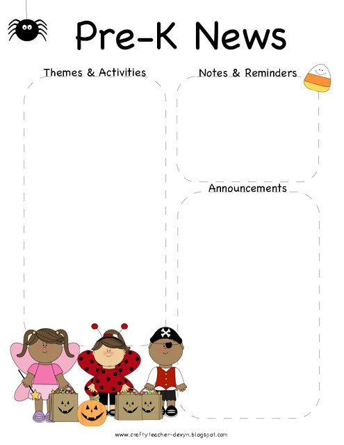 Pre K Newsletter Templates October Halloween Pre K Newsletter Template