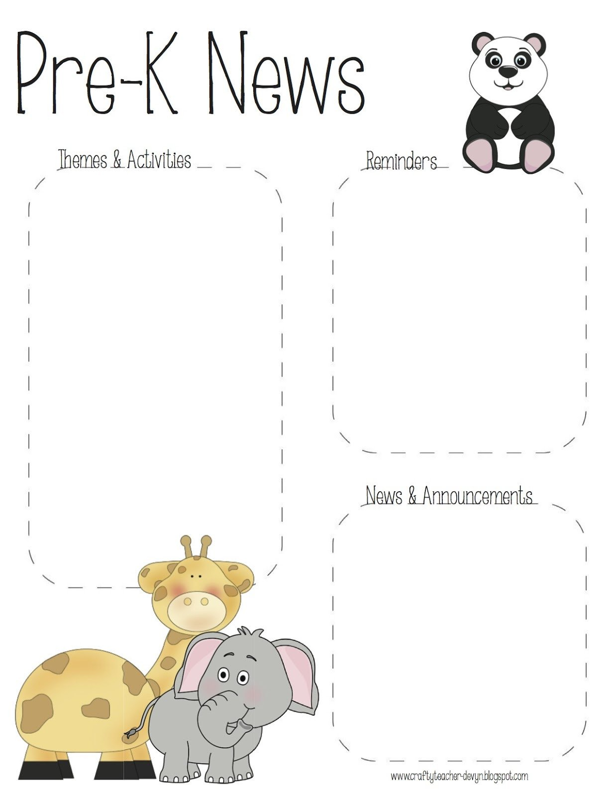 Pre K Newsletter Templates Pre K & Kindergarten Zoo Newsletter Templates