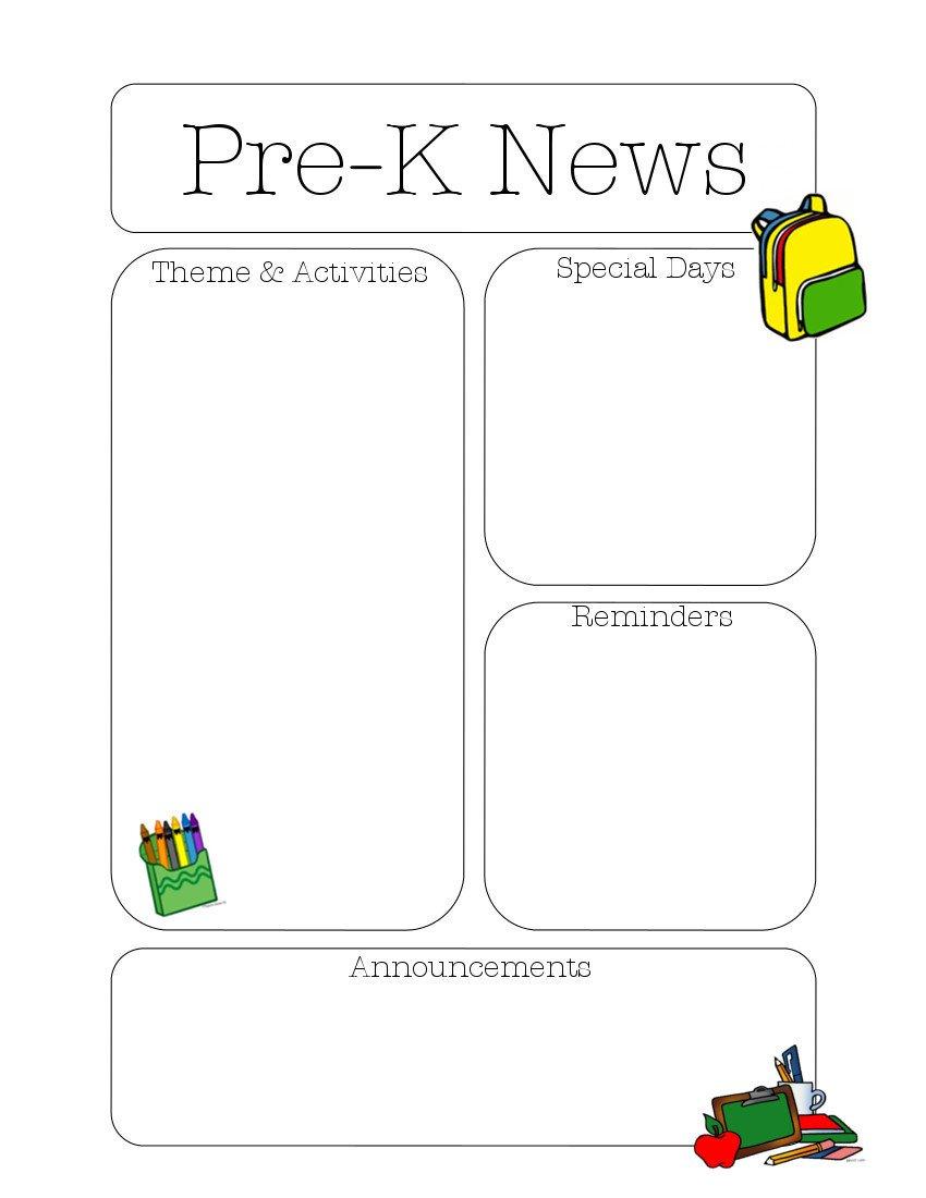 Pre K Newsletter Templates Pre K Newsletter Template