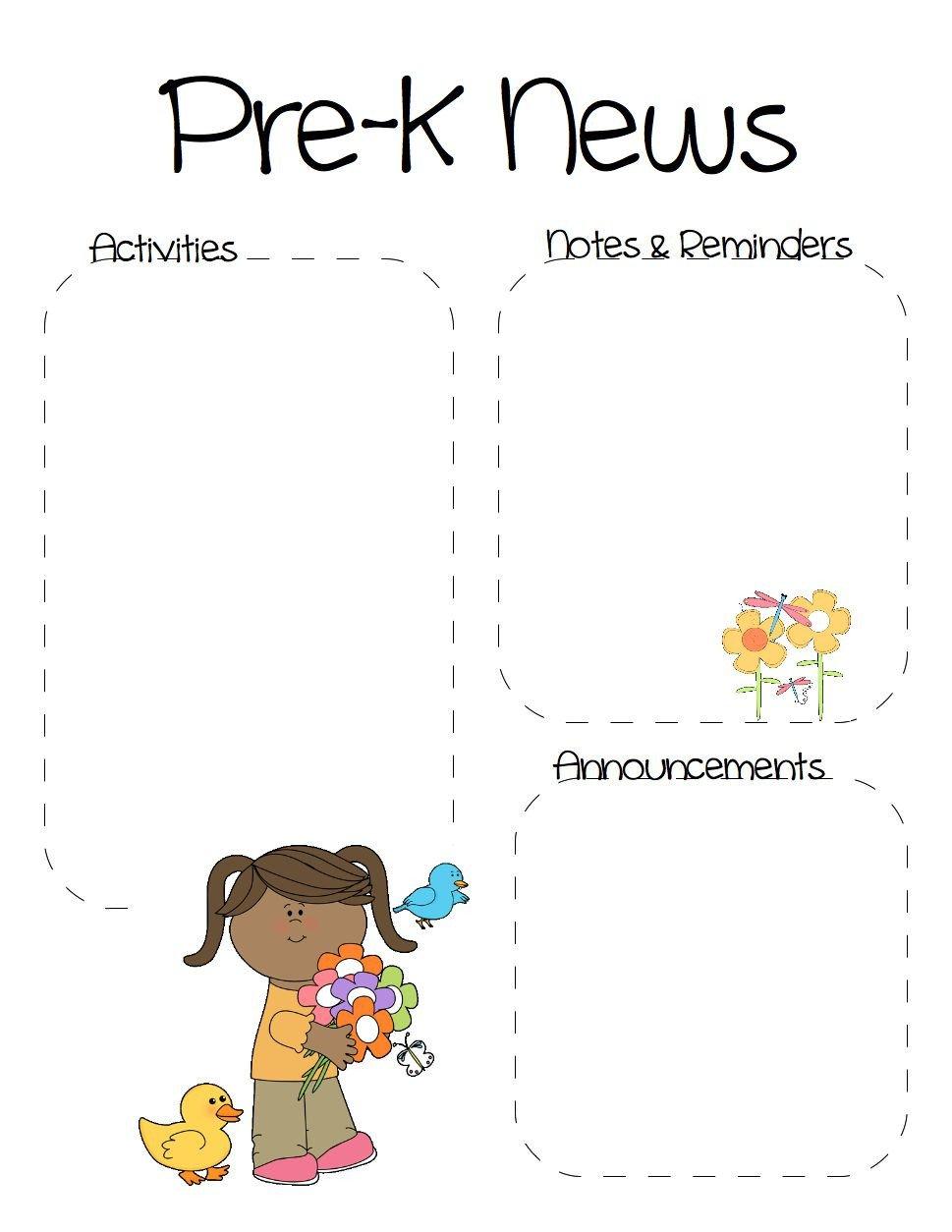 Pre K Newsletter Templates Spring Pre K Newsletter Template