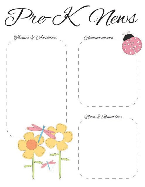 Pre K Newsletter Templates the Crafty Teacher Spring Pre K Newsletter Template
