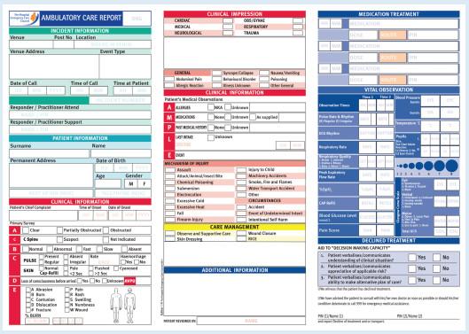 Prehospital Care Report Template Ambulatory Care Focus