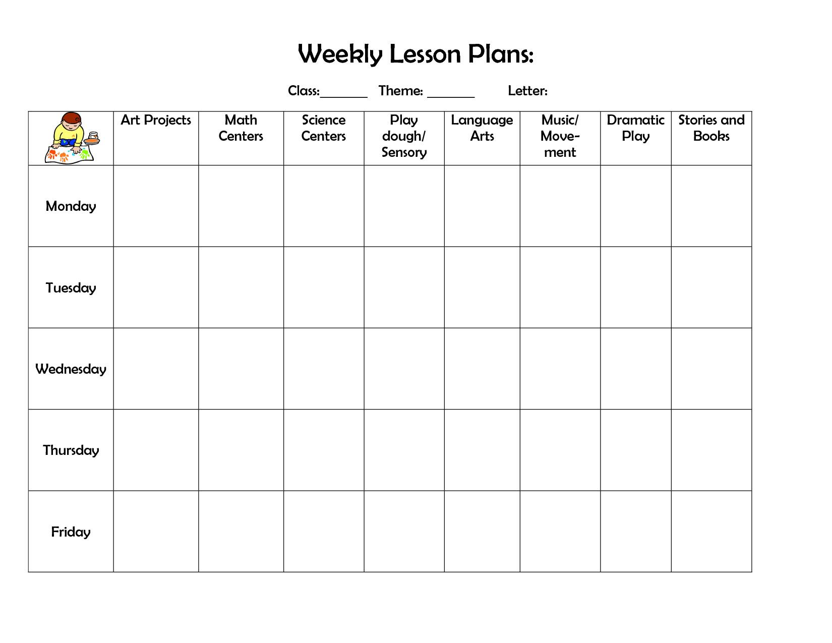 Prek Lesson Plan Templates Infant Blank Lesson Plan Sheets