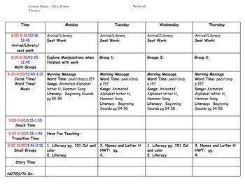 Prek Lesson Plan Templates Preschool Lesson Plan Template by Ecdc Teacher