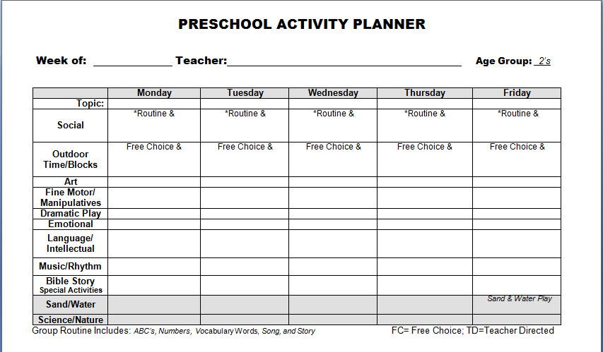 Prek Lesson Plan Templates Preschool Lesson Plan Template