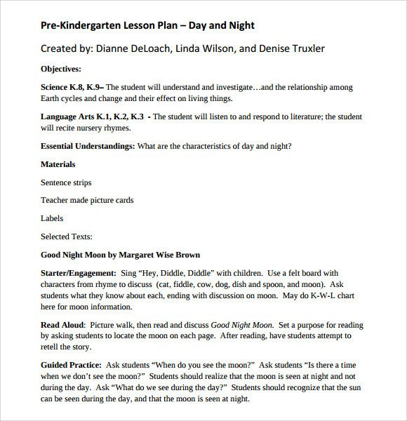Prek Lesson Plan Templates Sample Kindergarten Lesson Plan Template 8 Free
