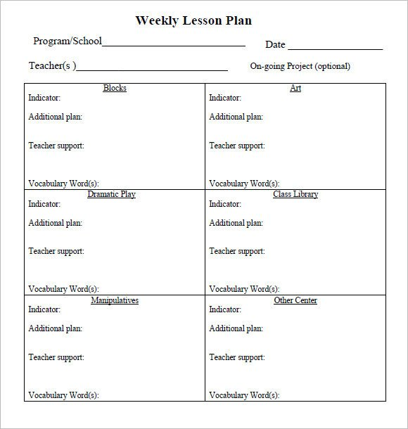 Prek Lesson Plan Templates Sample Weekly Lesson Plan 8 Documents In Pdf Word