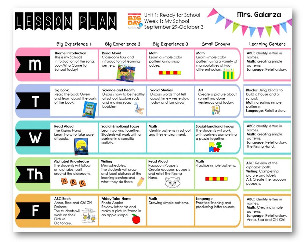 Prek Lesson Plan Templates Teacher Week when Thursday Freebies