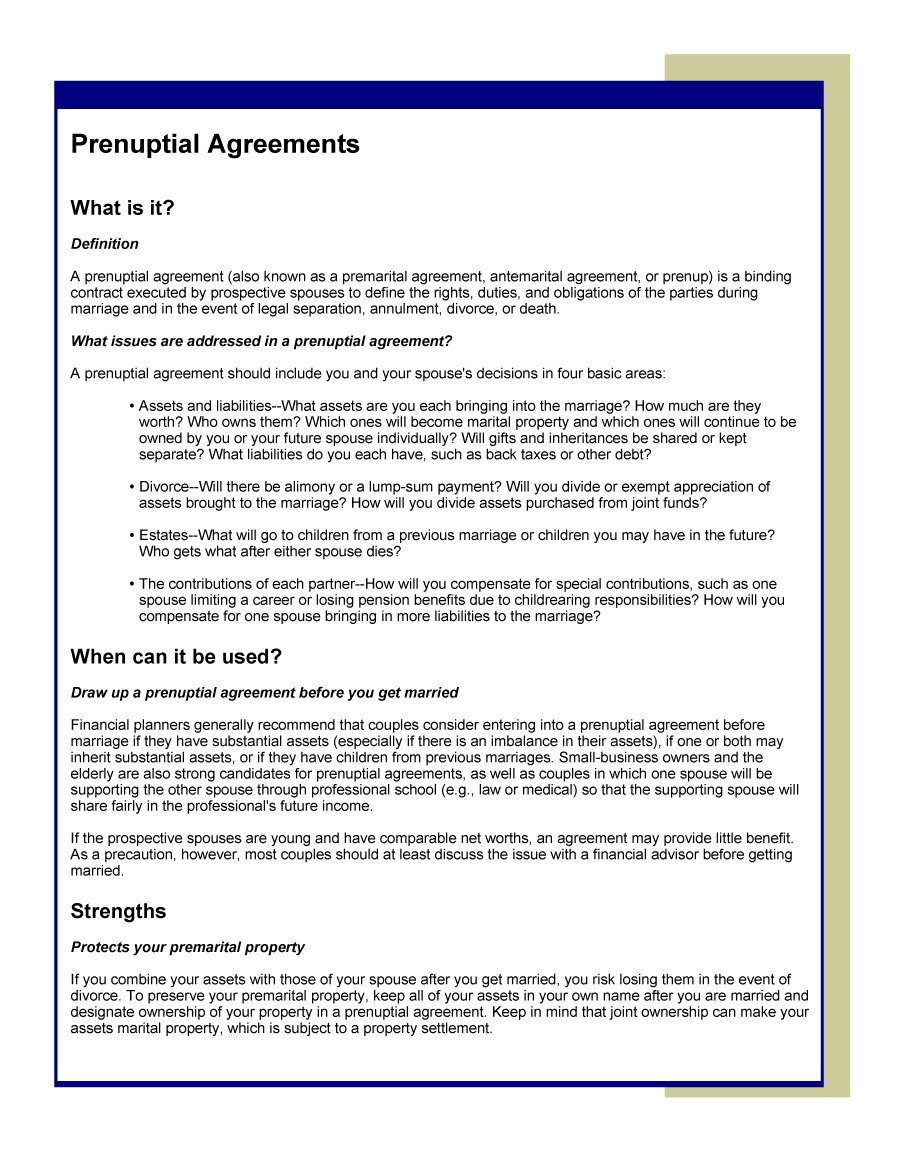 Prenuptial Agreement Template Word 30 Prenuptial Agreement Samples & forms Template Lab