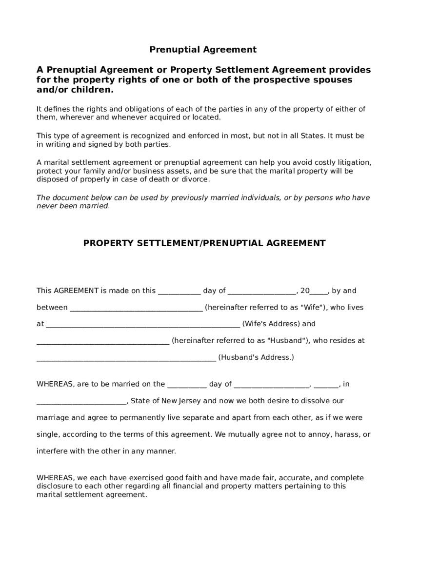 Prenuptial Agreement Template Word 5 Prenuptial Agreement form Templates Word Excel Templates