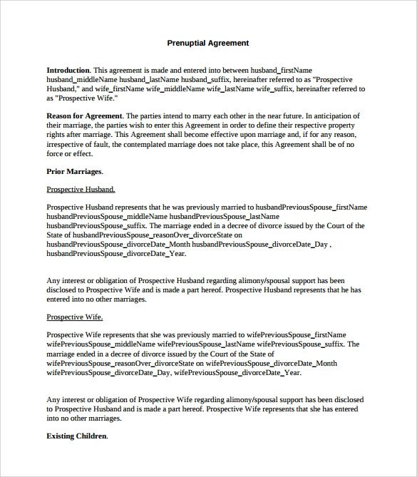 Prenuptial Agreement Template Word Prenuptial Agreement 8 Download Documents In Pdf