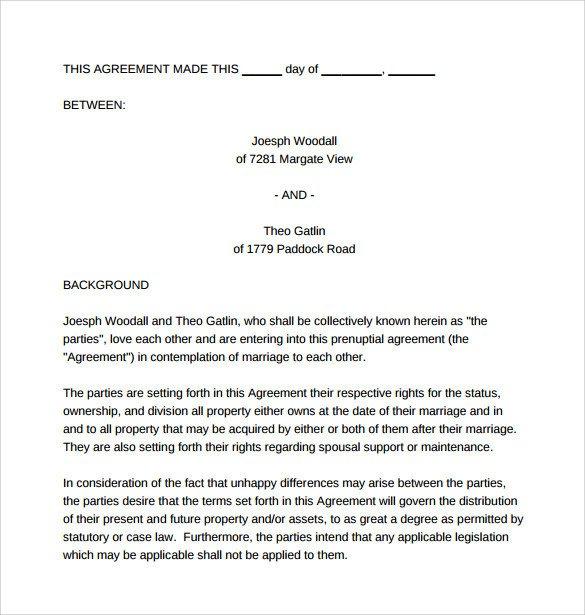 Prenuptial Agreement Template Word Prenuptial Agreement Template 8 Word Pdf formtas