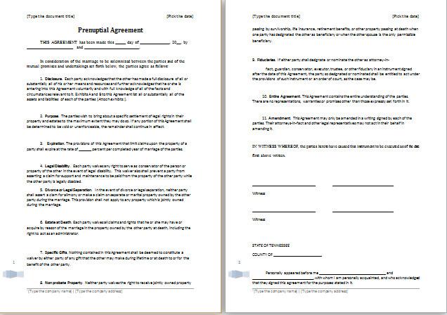 Prenuptial Agreement Template Word Prenuptial Agreement Template for Ms Word