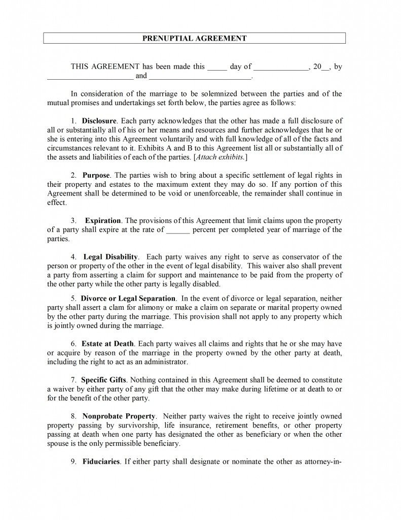 Prenuptial Agreement Template Word Prenuptial Agreement Template