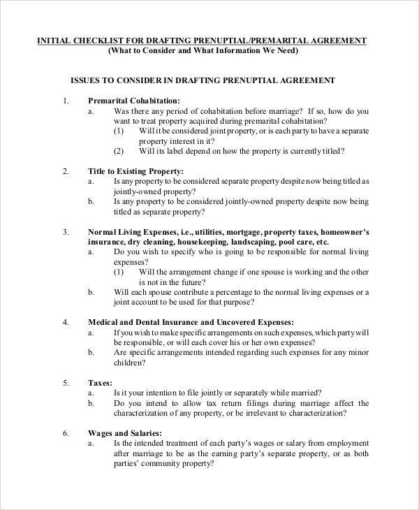 Prenuptial Agreement Template Word Sample Prenuptial Agreement 8 Examples In Word Pdf