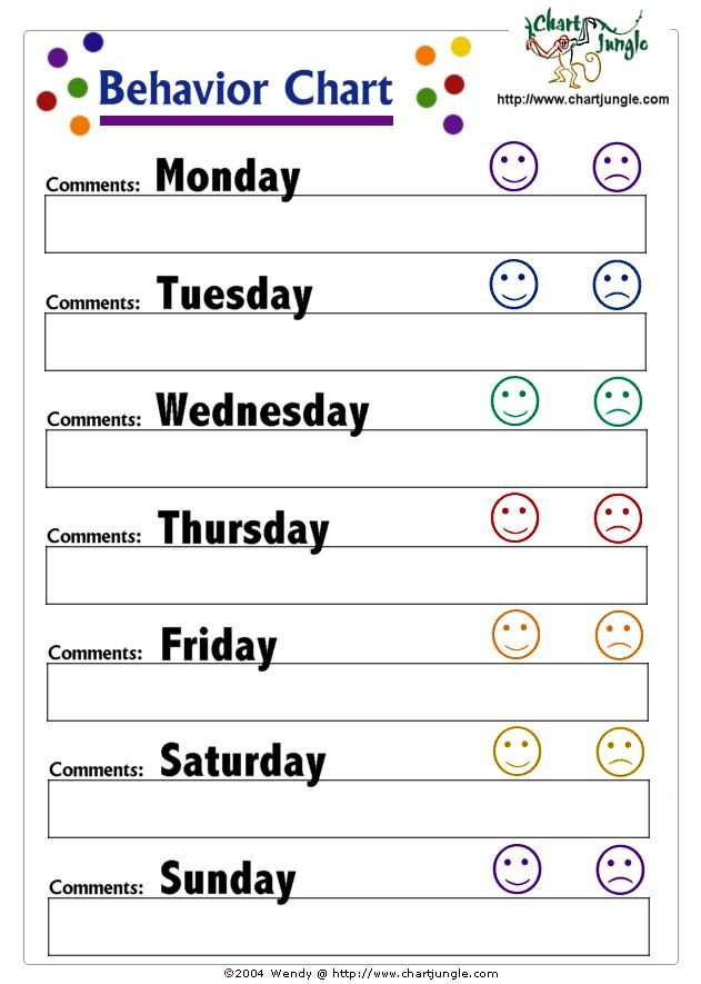 Preschool Behavior Chart Template 25 Best Ideas About Weekly Behavior Charts On Pinterest