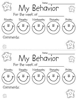 Preschool Behavior Chart Template Behavior Chart Sheet by Perfectly Primary Printables