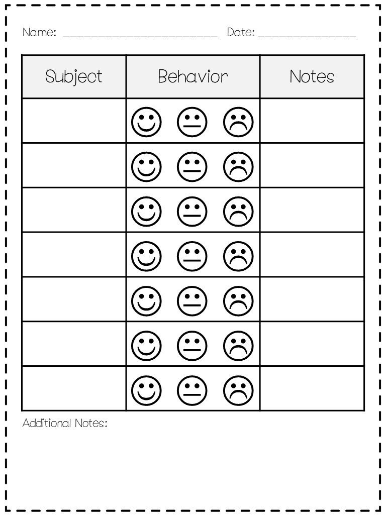 Preschool Behavior Chart Template Classroom Behavior Mrs Wills Kindergarten