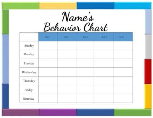 Preschool Behavior Chart Template Free Printable Behavior Charts