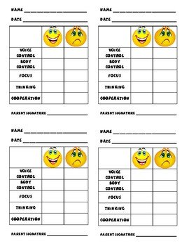 Preschool Behavior Chart Template Individual Behavior Charts by Ellen Gordon