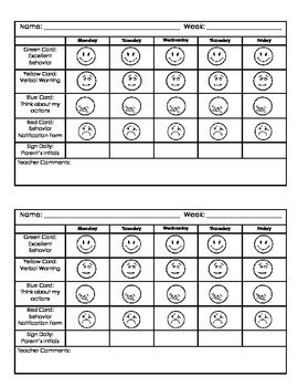Preschool Behavior Chart Template Kindergarten Behavior Chart by Jillian