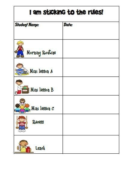 Preschool Behavior Chart Template Kindergarten Graph Template