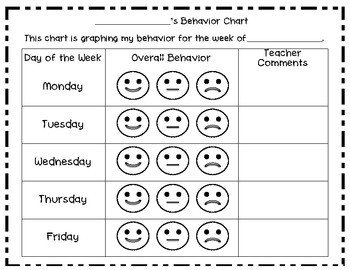 Preschool Behavior Chart Template Weekly Smiley Behavior Chart by Samantha butler