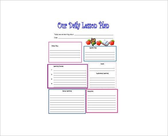 Preschool Daily Lesson Plan Template Daily Lesson Plan Template 10 Free Word Excel Pdf